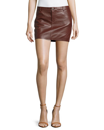 Leather Mini Skirt, Burgundy