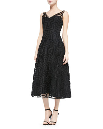 Olivia Fil Coupe Illusion Midi Dress