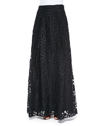 Maze-Patterned Fil Coupe Ball Skirt