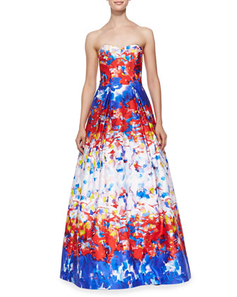 Ava Strapless Watercolor Printed Gown