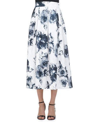 Floral Jacquard Pleated Midi Party Skirt
