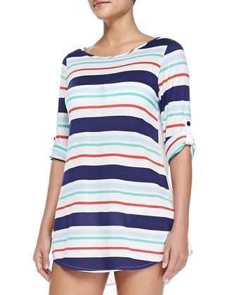 Striped Tunic with Button-Tab Sleeves, Multicolor
