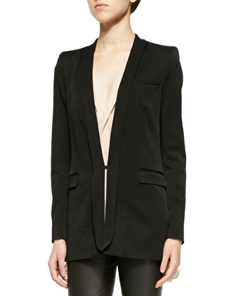 Bryan Long Slim Tuxedo Blazer, Avon Draped Sleeveless Silk Blouse & Lamb ...