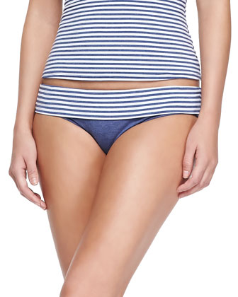 Striped Soft-Cup Bandini Top & Fold-Over Swim Bottom