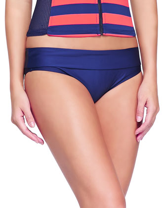 Mesh-Sleeve Striped Surf Top & Fold-Over Low-Rise Swim Bottom