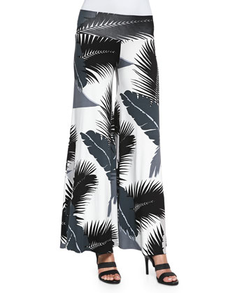 Tropical-Print Wide-Leg Pants