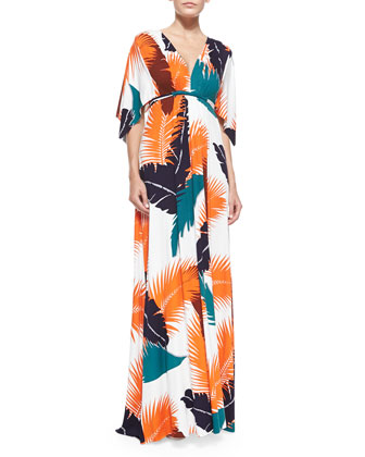 Tropical-Print Maxi Caftan Dress