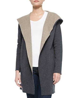 Double-Face Merino Hooded Cardigan