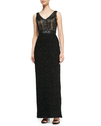 Sleeveless Beaded Embroidery Gown