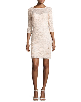 3/4-Sleeve Embroidered Sheath Dress, Blush