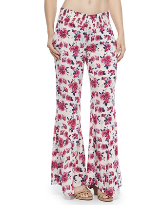 Shyla Braid-Strap Swim Top, Swim Bottom & Delhi Floral-Print Beach Pants