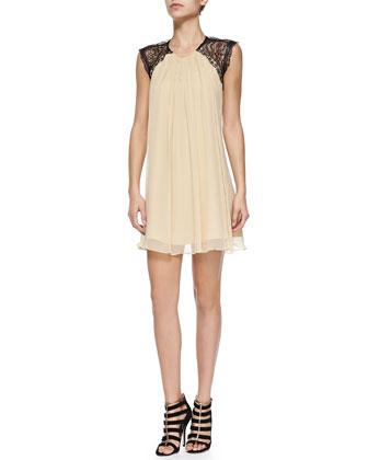 Aprilia Open-Back Dress W/ Lace Detail