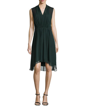 Pleated Chiffon Dress with Leather Detail