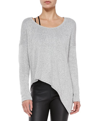 Boat-Neck Asymmetric Knit Pullover