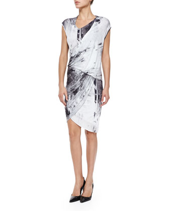 Printed Draped Wrapped Jersey Dress