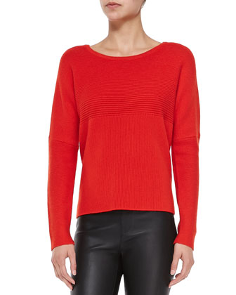 Mixed-Rib Knit Pullover Sweater