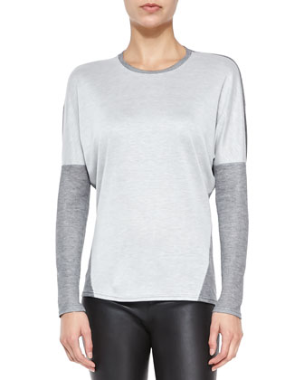 Duet Two-Tone Slub Jersey Top