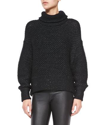 Opacity Shimmery Knit Oversize Sweater & Stretch-Leather Skinny Pants