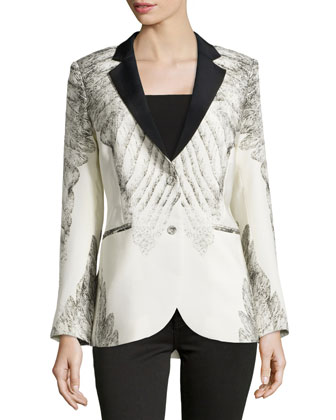 Feather-Print Tuxedo Jacket