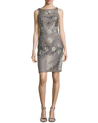 Floral Embroidered Beaded Sheath Dress, Charcoal