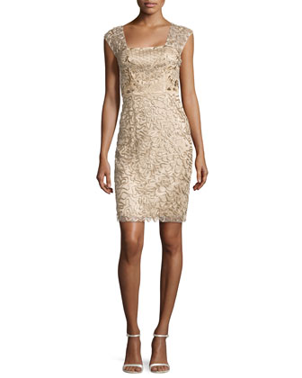 Beaded Sheath Dress, Beige