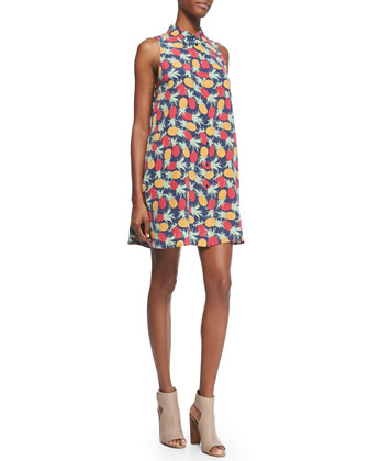 Sleeveless Pineapple Print Trapeze Shirtdress
