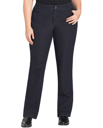 Curvy Bi-Stretch Slim-Leg Jeans, Dark Indigo, Women's