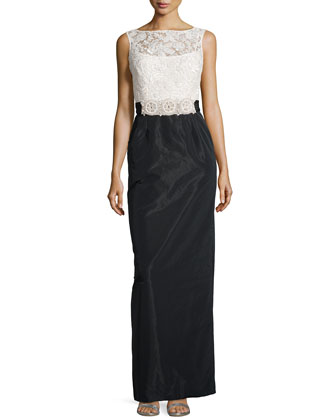 Sleeveless Two-Tone Lace & Taffeta Gown