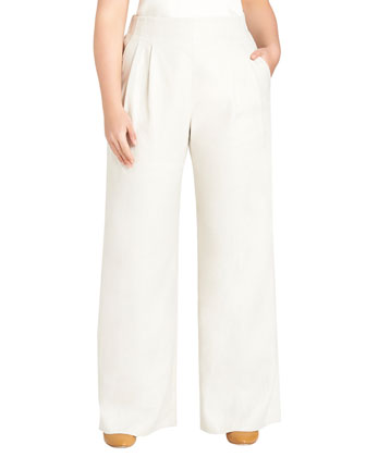 Ludlow Wide-Leg Pants, Raffia, Women's