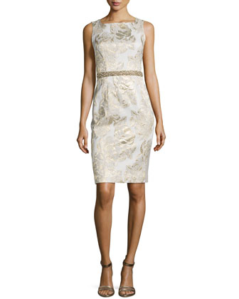 Sleeveless Jacquard Beaded-Waist Cocktail Dress