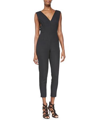 V-Neck Cutout Jumpsuit, Black