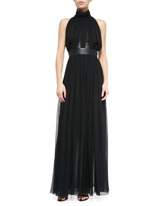 Long Leather-Inset Gathered Chiffon Dress, Black