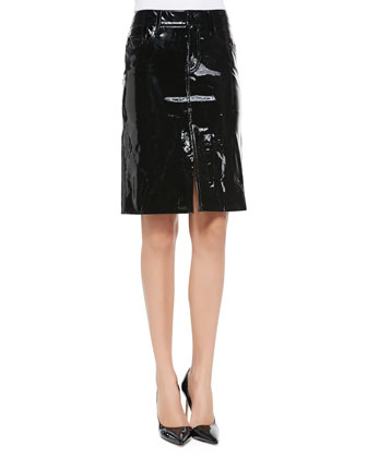 Snake-Print Silk Peasant Blouse & Patent Leather Pencil Skirt