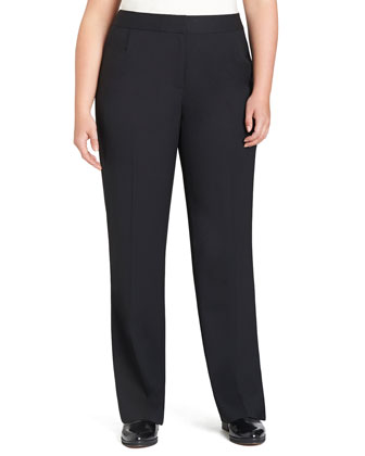Menswear Straight-Leg Stretch-Wool Pants, Women's