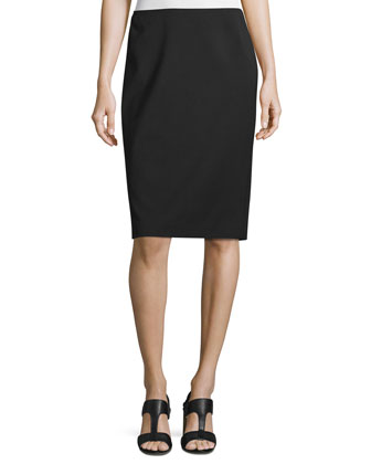 Modern Slim Crepe Skirt, Black, Women's