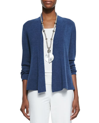 Merino Ribbed Cardigan, Denim