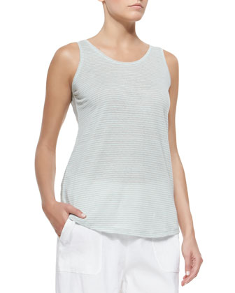Striped U-Neck Long Tank, Pale Aqua/Dark Pearl