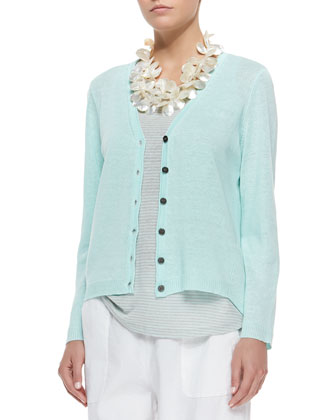 Organic Linen High-Low Cardigan, Pale Aqua