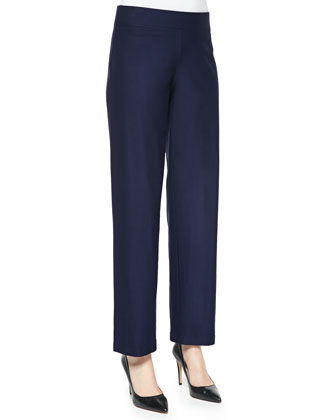Washable-Crepe Straight-Leg Pants, Midnight, Petite