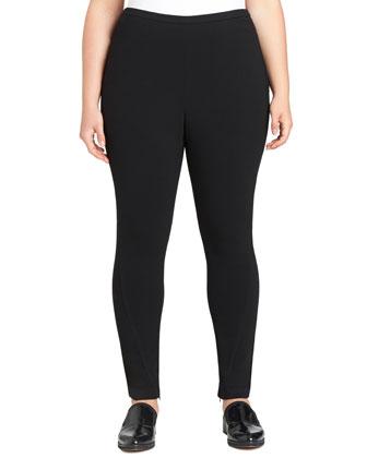 Zipper-Hem Skinny Straight-Leg Pants, Black
