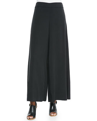 Twill Wide-Leg Pants, Black, Petite