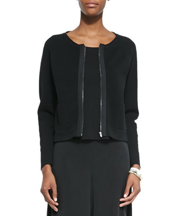 Silk-Cotton Interlock Short Jacket, Black