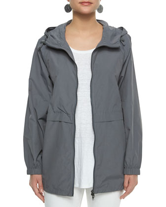 Hooded Weather-Resistant Anorak Jacket, Organic Linen Jersey Tank, ...
