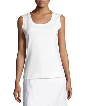 Scoop-Neck Sleeveless Cotton Tee, Women's