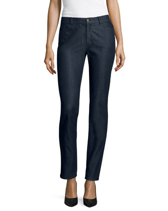Curvy Bi-Stretch Slim-Leg Jeans, Midnight, Women's