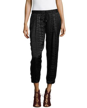 Animal-Print Textured Pants, Black