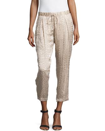 Animal-Print Textured Pants, Buff