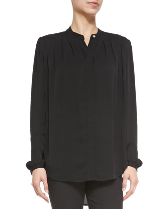 Pleated Long-Sleeve Silk Blouse, Black