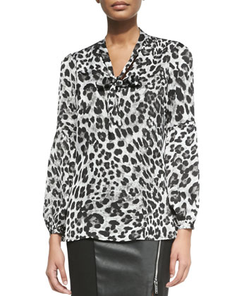 Yesler Leopard-Print Blouse with Tie
