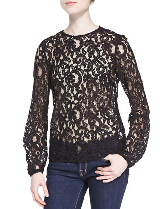 Crewneck Long-Sleeve Lace Blouse